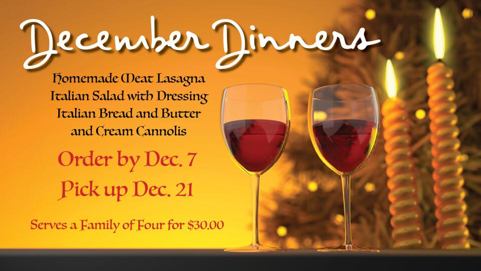 December Dinner Deadline
